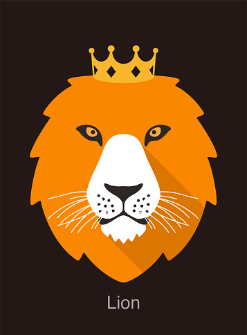 lion cartoon face with crown, flat animal face icon vector