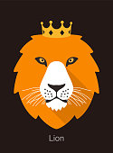 lion cartoon face, flat animal face icon, vector illustration