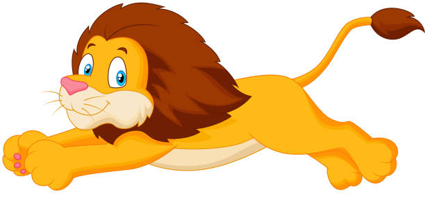 lion cartoon jumping vector art illustration