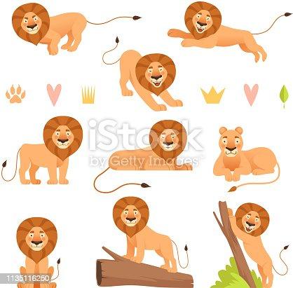 Lion cartoon. Wild running yellow fur animal king hunter safari cute lions pride vector characters collection