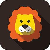 Lion, Cat face cartoon flat icon design