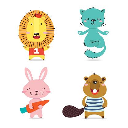 Lion, cat, hare, beaver. Cute cool little animals smiling. Kawaii cartoon baby animal character set. Flat hand drawn illustration kid's poster. Child theme. T-shirt print, wear, greeting card.