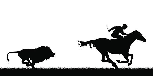 Lion chasing racing horse vector art illustration