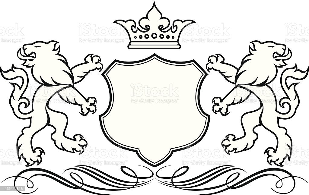 Lion Coat Of Arms Stock Vector Art  More Images Of Animal