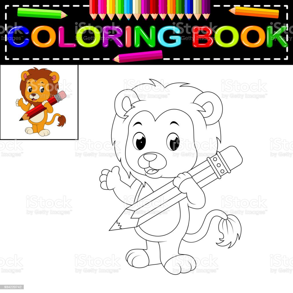 Lion Coloring Book Stock Vector Art & More Images of Animal ...
