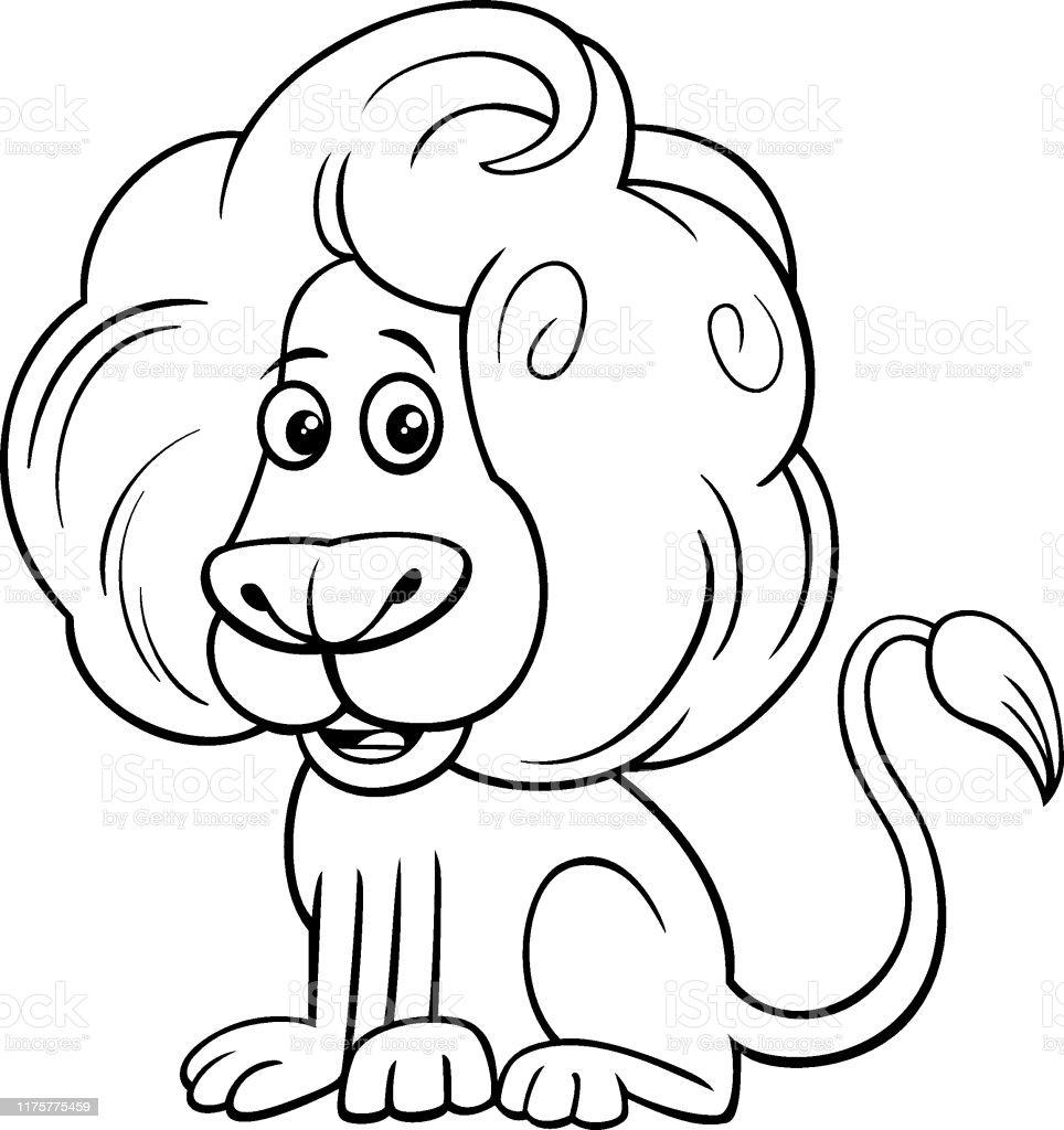 Aslan Komik Hayvan Karakter Karikatur Renkli Kitap Stok Vektor