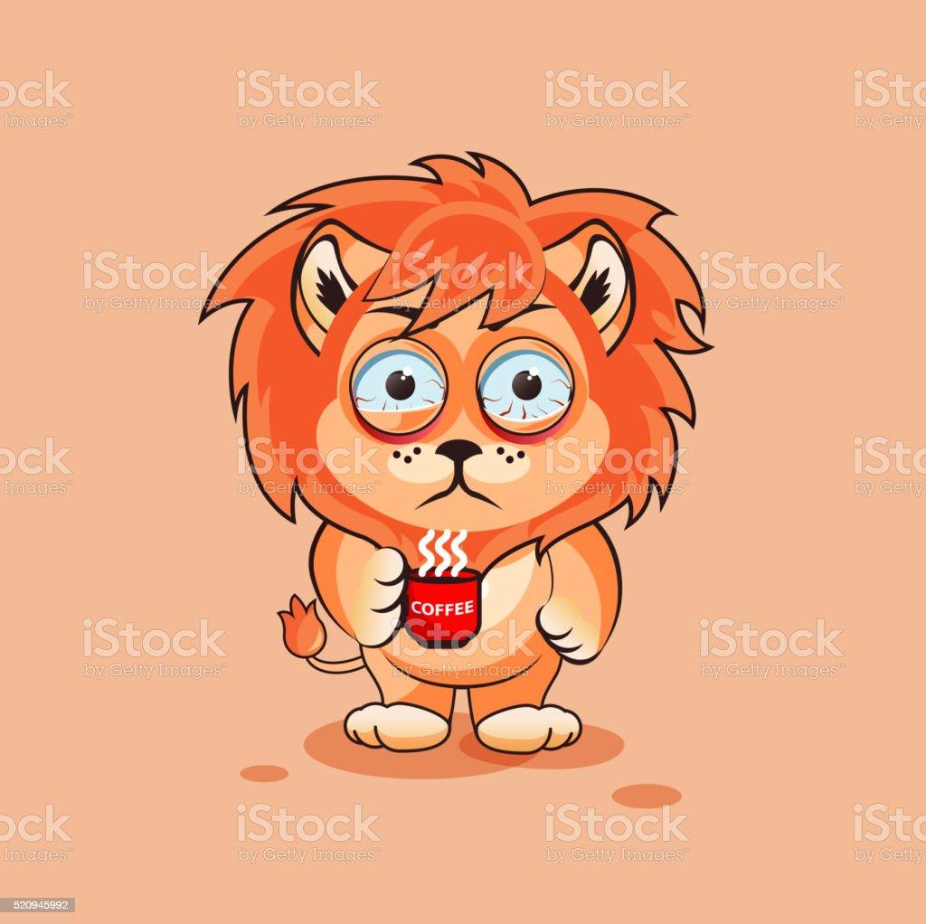 Lion cub nervous vector art illustration