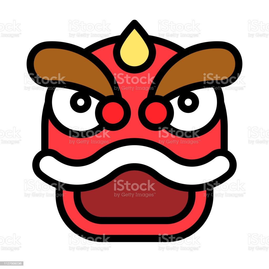 Lion dance vector, Chinese lunar new year filled icon, editable...