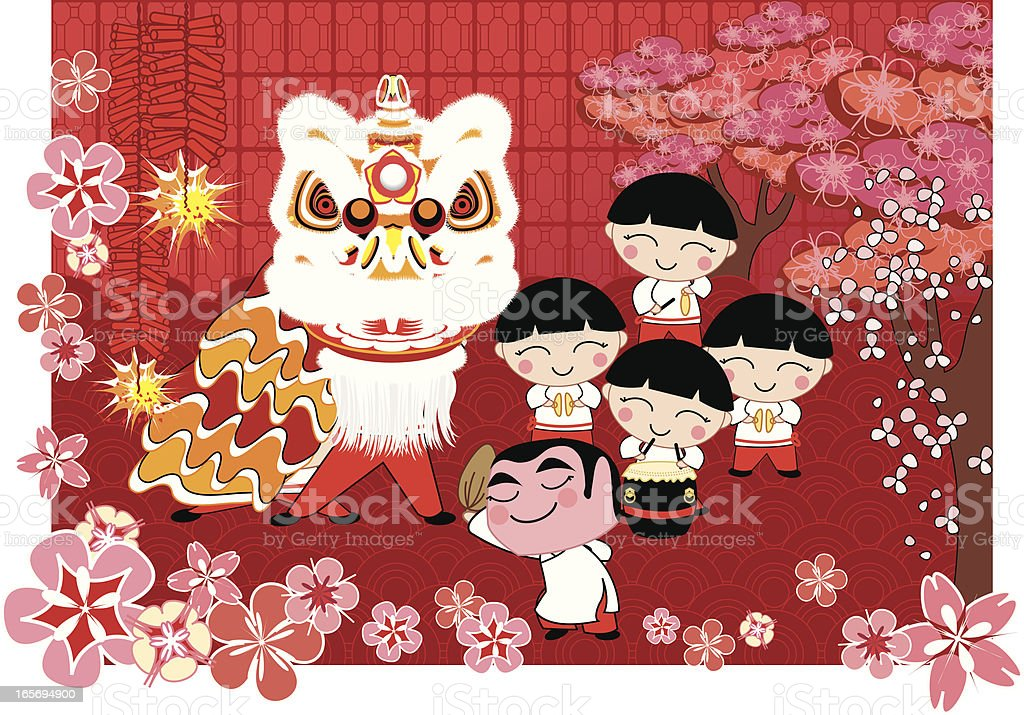 Lion Dance royalty-free lion dance stock illustration - download image now
