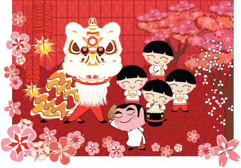 Lion Dance Stock Illustration - Download Image Now