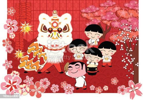 Lion Dance Stock Vector Art & More Images of Asian and Indian Ethnicities 165694900