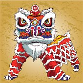 A vector illustration of  Chinese culture Lion dance.