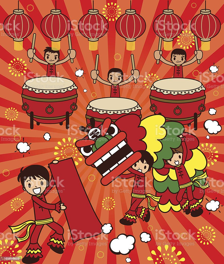Lion Dancing and Large Drum Drama For Happy New Year royalty-free stock vector art