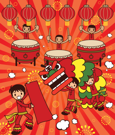 Lion Dancing and Large Drum Drama For Happy New Year