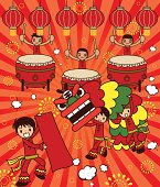 Vector illustration - Lion Dancing and Large Drum Drama For Happy New Year.