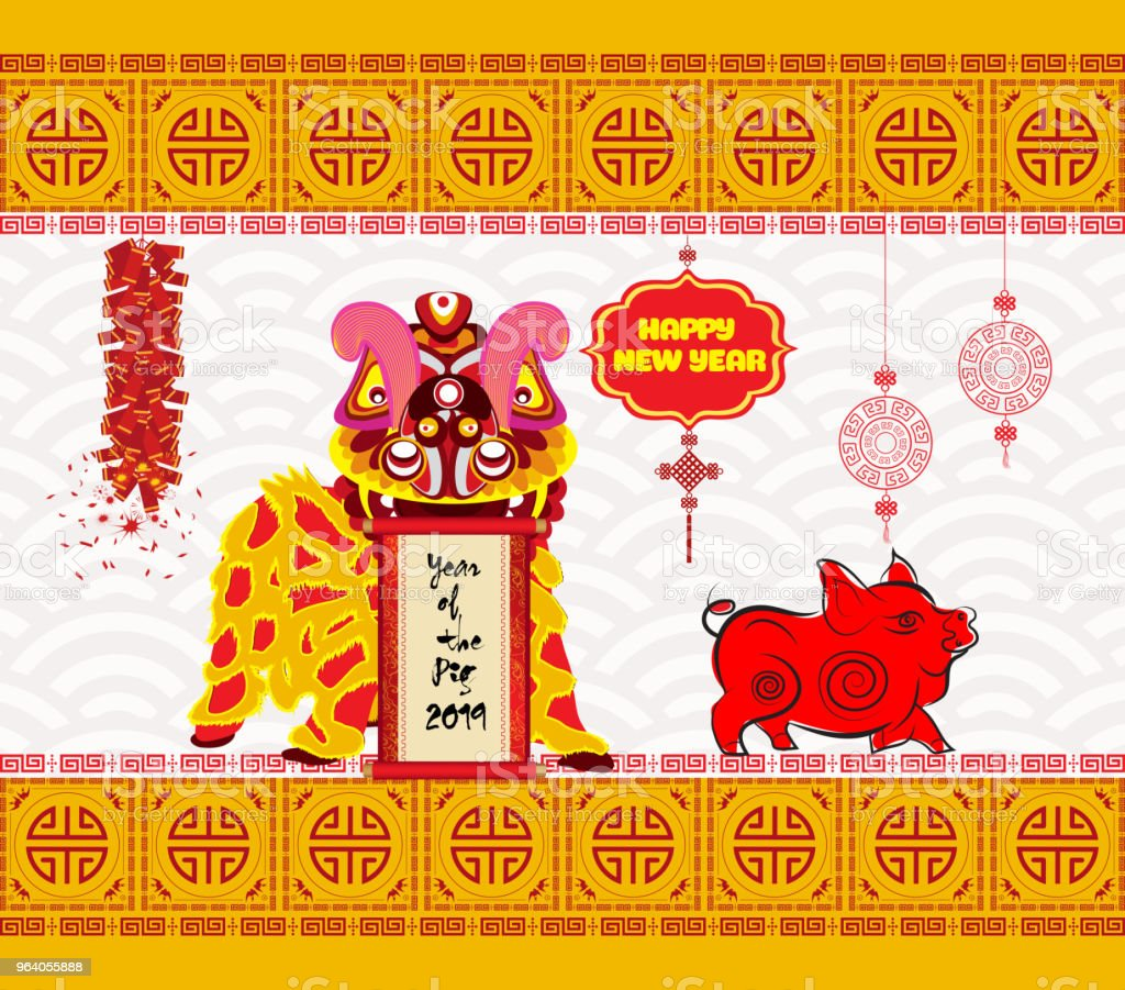 Lion dancing head and chinese new year 2019 with firecracker - Royalty-free 2019 stock vector