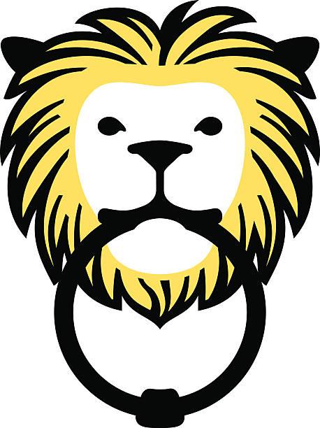 lion doorknocker - türklopfer stock-grafiken, -clipart, -cartoons und -symbole