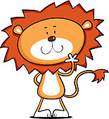 Cool cartoon lion waving