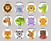 A set of animal portraits in a round frame. Icons in the flat style. Cartoon characters. Vector.