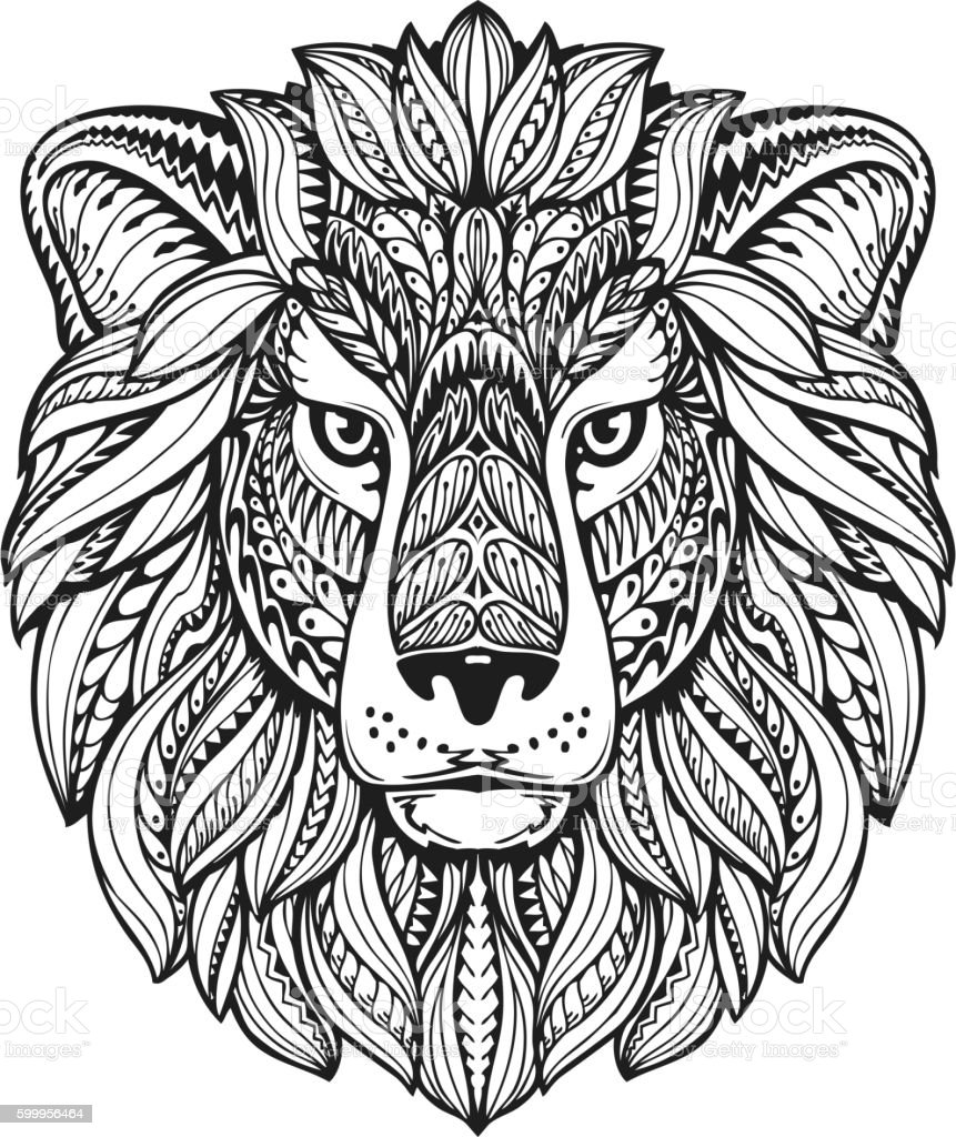 Lion ethnic graphic style with herbal ornaments and patterned mane vector art illustration