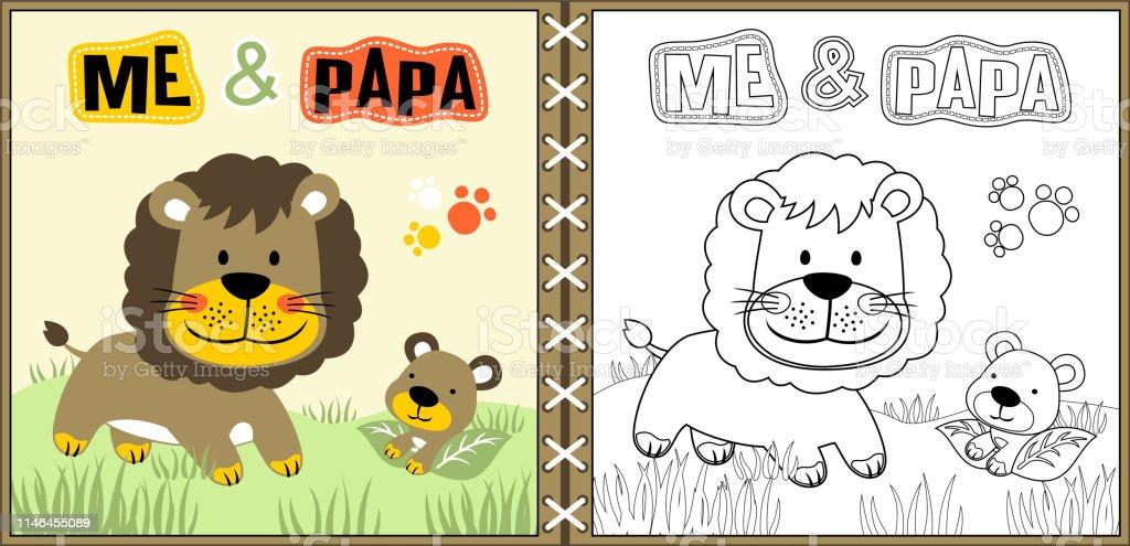 Ilustración De León Familia De Dibujos Animados Página Para Colorear