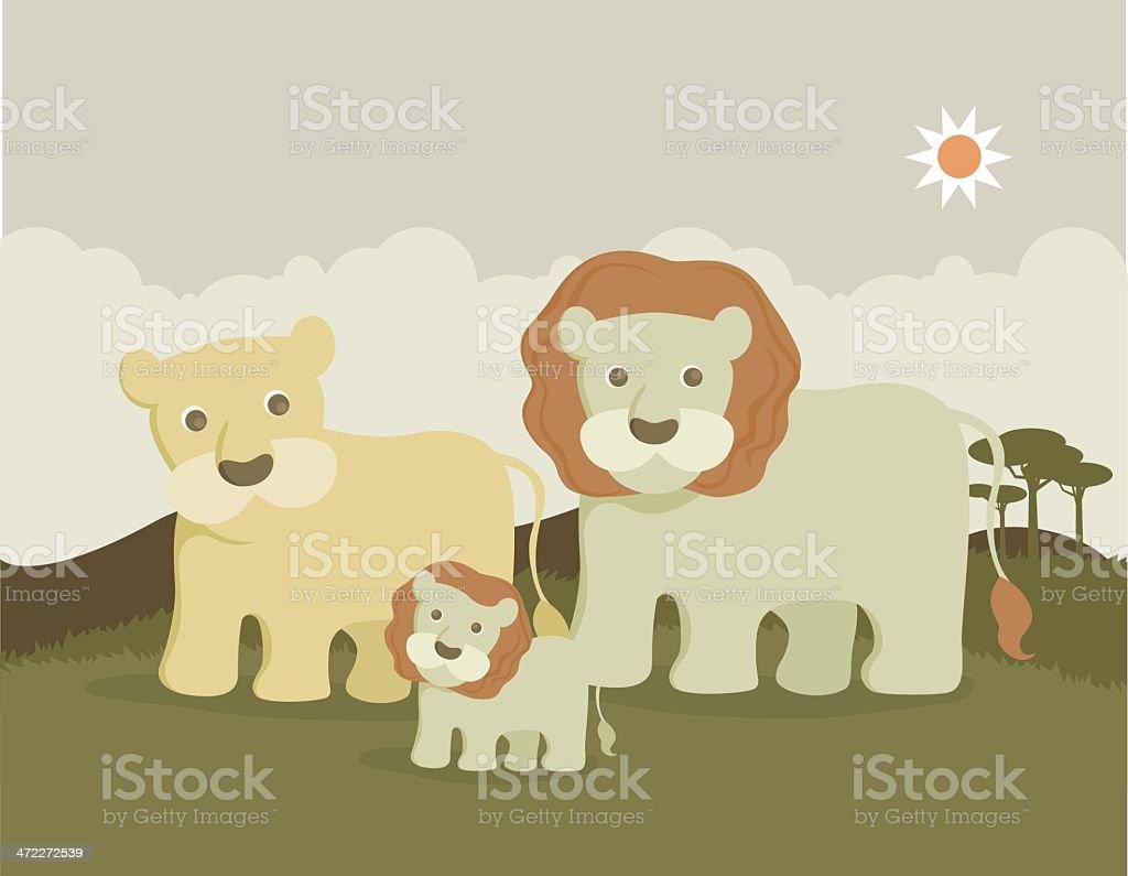 lion family royalty-free stock vector art