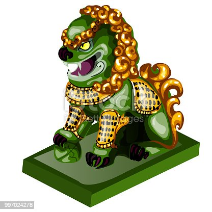 Lion figurine made of jade isolated on white background. Statuette of nephrite in the Oriental style. Vector illustration