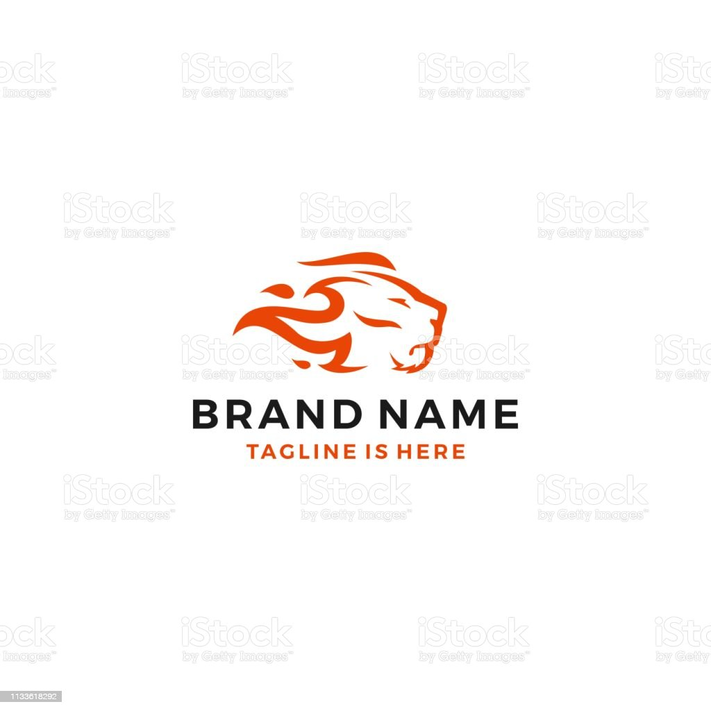 Lion Fire Head Flame King Template Vector Icon Illustration