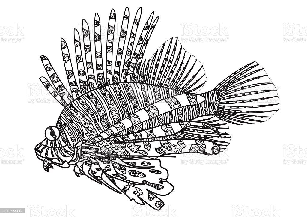 Lion Fish Coloring Page Stock Vector Art & More Images of 2015 ...