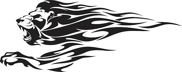 ライオンフレーム - 炎のタトゥー点のイラスト素材/クリップアート素材/マンガ素材/アイコン素材