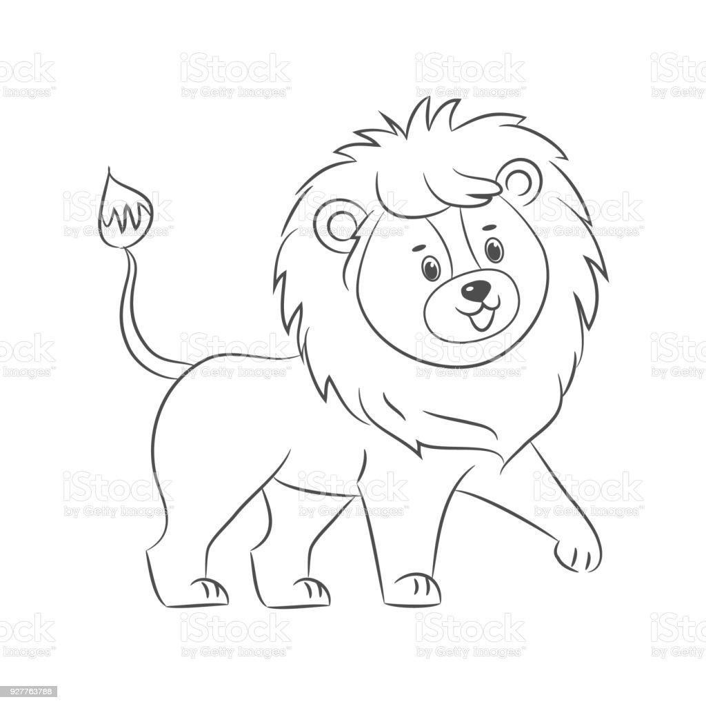 Ilustración de León Para Colorear Libro y más banco de imágenes de ...