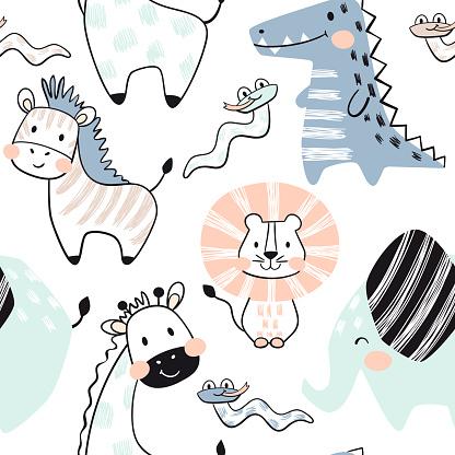Lion, giraffe, elephant, crocodile, zebra, snake baby seamless pattern. Scandinavian cute print