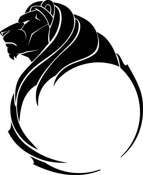 Lion Growl Side View, Emblem vector art illustration