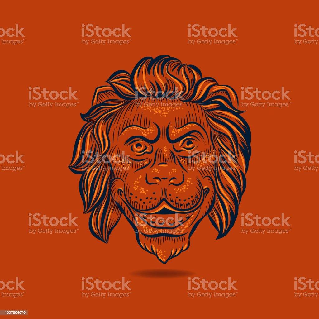Lion hand drawn head floating on orange background. vector art illustration