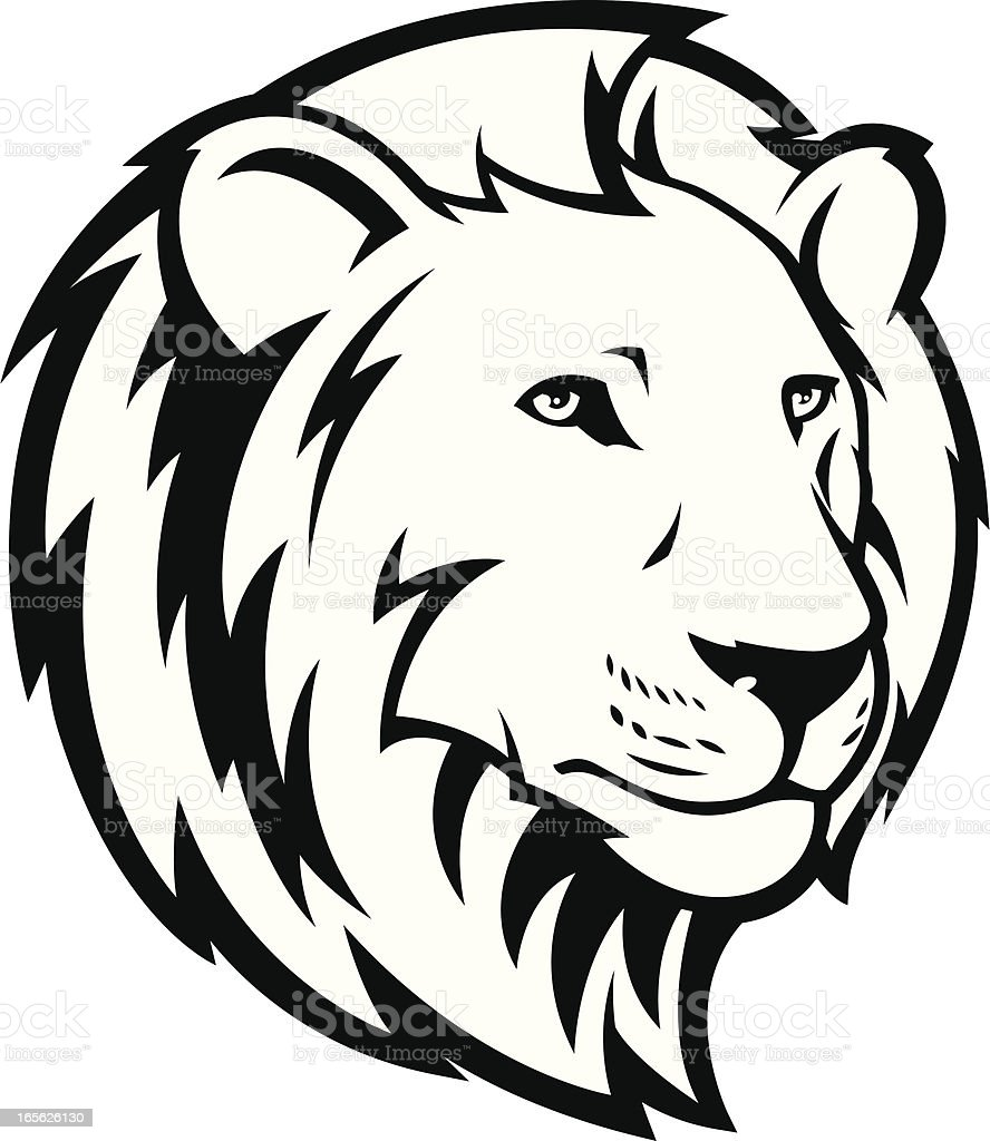Lion Head B&W vector art illustration
