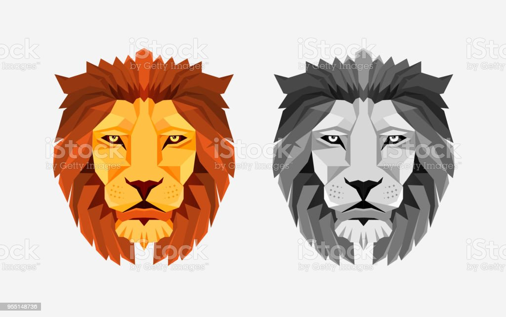 Lion head. Color and grayscale illustrations. Low poly design. Creative logo elements. vector art illustration