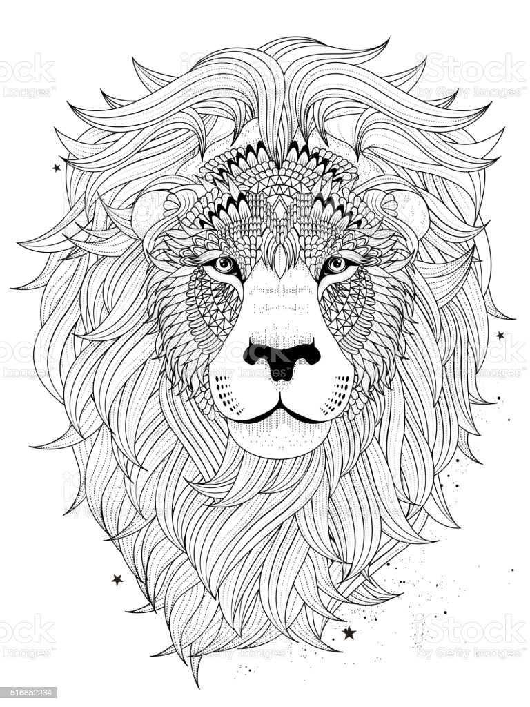 Lion head coloring page stock vector art more images of for Lion mandala coloring pages