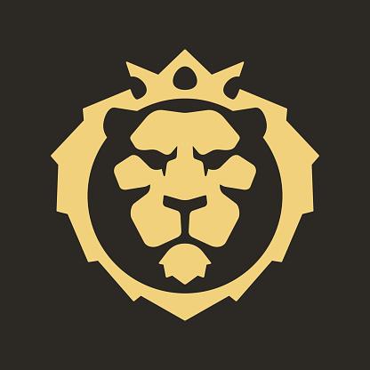 Lion head crown logo icon symbol vector illustration