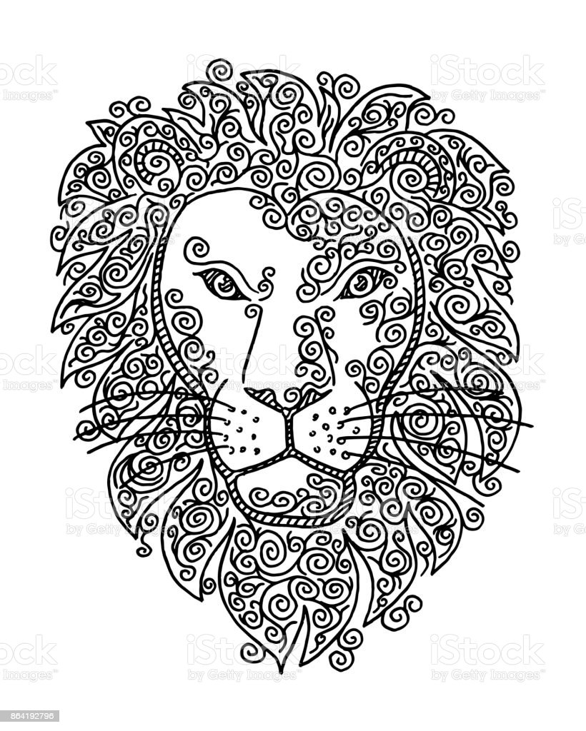 Lion Head Doodle Swirl Drawing vector art illustration