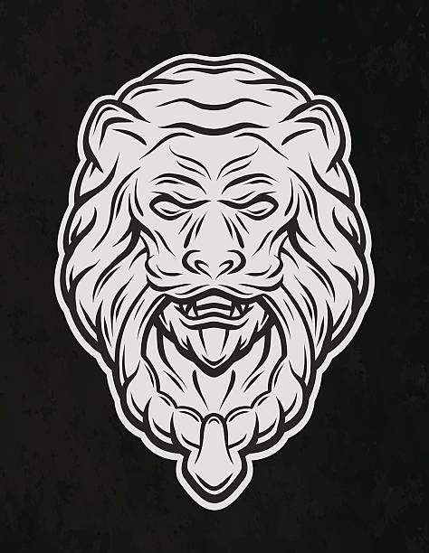 lion head door. on a dark background. - türklopfer stock-grafiken, -clipart, -cartoons und -symbole