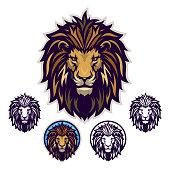 Lion head vector emblem with four variations.