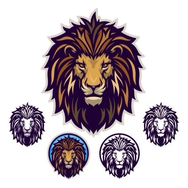 Lion head emblem Lion head vector emblem with four variations. lion stock illustrations