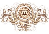 retro design element - ornated emblem with lion's head, vector artwork