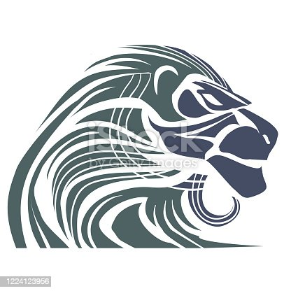 lion head for logo, style, pride, power, strength, breed, isolated object on a white background, vector illustration