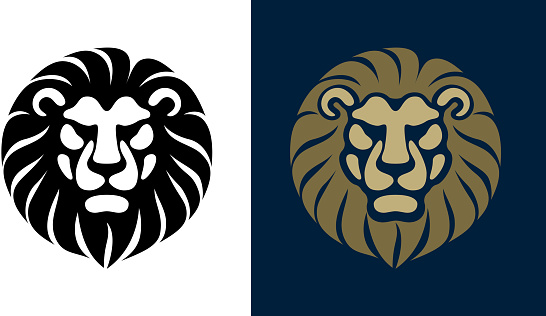 Lion Head front view black and white vector design template icon illustration