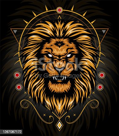 lion head gold with ornament background. king of THE lion illustration for shirt design
