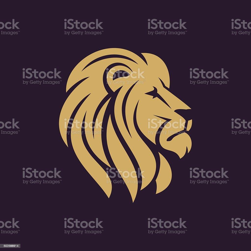 Löwenkopf con in einer Farbe. – Vektorgrafik