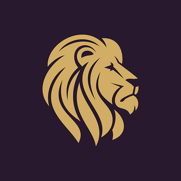 lion head icon in one color. - lion stock illustrations, clip art, cartoons, & icons