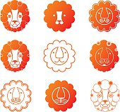 Lion head icon set.