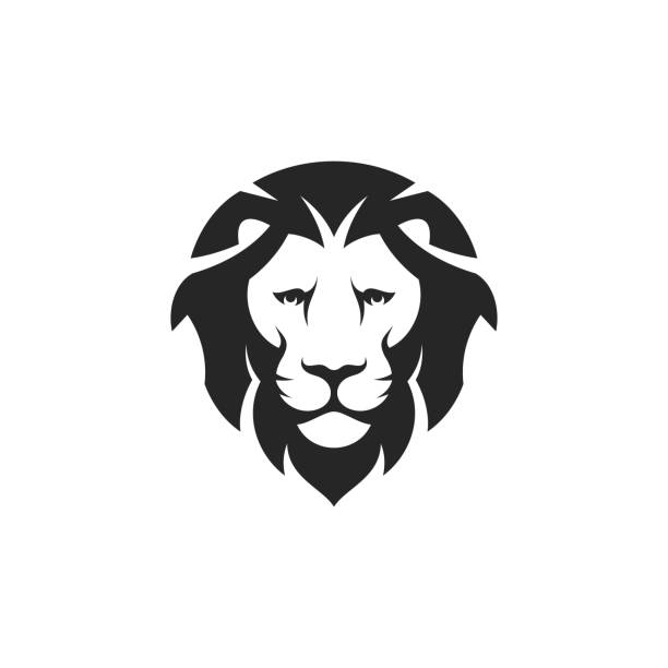Lion head. Icon. Wild animal on white background Vector illustration (EPS) lion stock illustrations